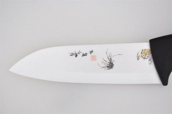Coltello in Ceramica Bianca decorata - Lama 15